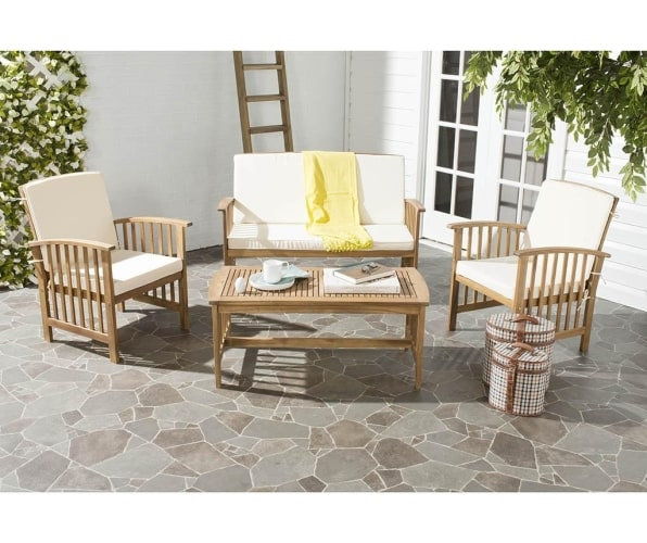 outdoor wood chairs and table
