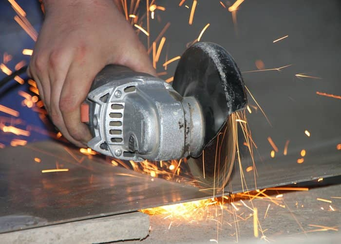 angle grinding used to cut steel