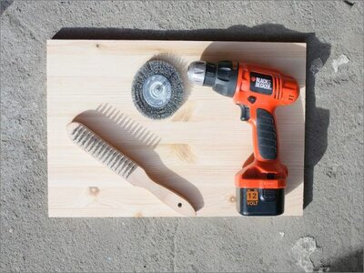 how to age wood by brushing