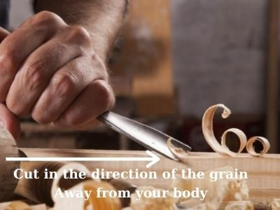 Start to carve the wood in the grain direction